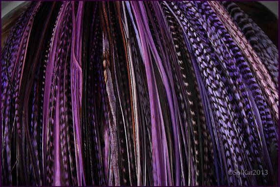 Feather Hair Accessories Purple Wholesale Rooster Feathers for Hair Extensions Long Feather Extensions, Grizzly Feathers, Purple Feather