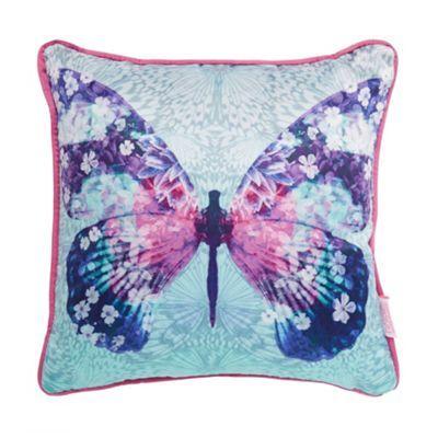 Butterfly Home by Matthew Williamson Designer aqua butterfly print cushion- at Debenhams.com