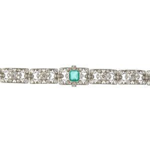 LOT:197 | A mid 20th century emerald and diamond bracelet.