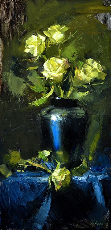 "Midnight Blue and Yellow by Kelli Folsom Oil ~ 24"" x 12"""