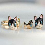 Mooie kat vis blauwe diamanten oorknopjes – EUR € 2.75