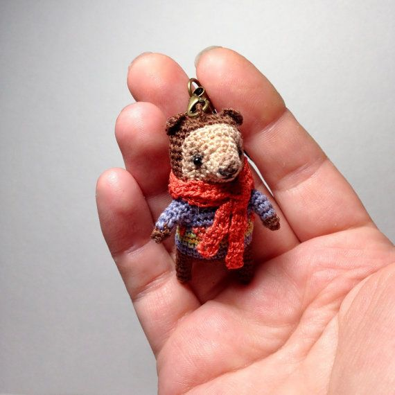 Funny crochet bear funny mini amigurumi brown bear with от LozArts