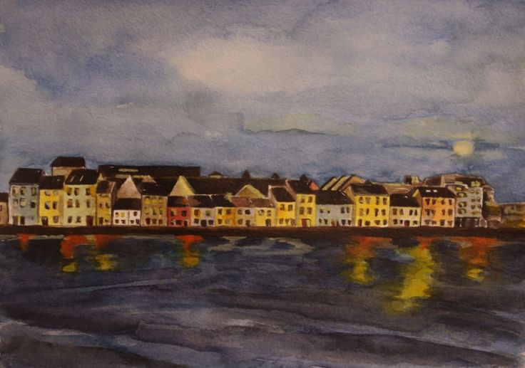 'The Long Walk - A Clear Night, Galway' by Fiona Concannon on ArtClick.ie