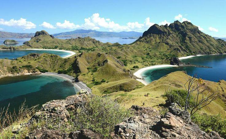 Padar island ,view from top of hill side padar .komodo national park island  Www.florestrekkingtour.com