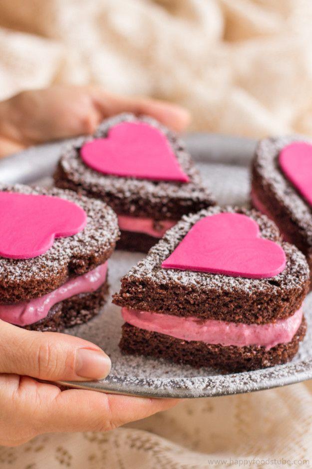 Mini Naked Chocolate Cake Hearts | 15 Lovely Dessert Recipes For Valentine's Day via @buzzfeed @buzzfeedtasty