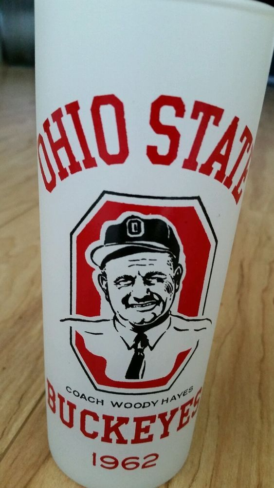 Vintage 1962 Ohio State Buckeyes Frosted Glass Cup Mug Woody Hayes OSU Football