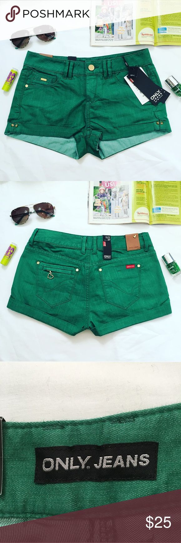 Only Jeans Green Denim Shorts Brand new with tag Shorts Jean Shorts