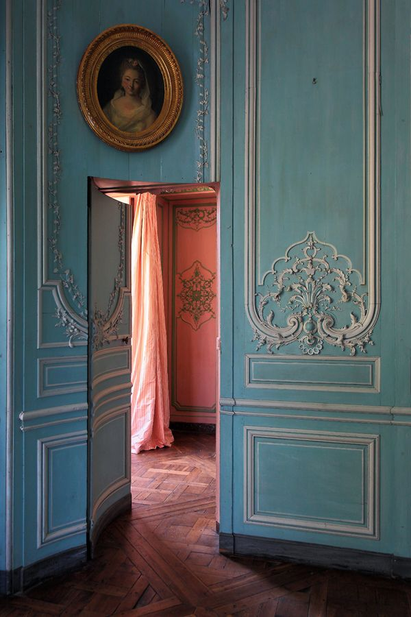 : Hidden Doors, Blue Wall, Color, French Blue, House, Secret Doors, French Home, Hidden Rooms, Secret Rooms