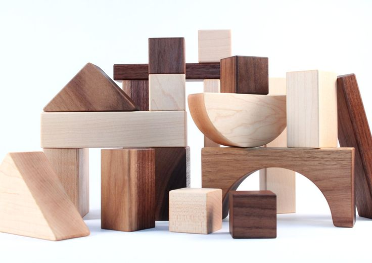 20-piece organic wood blocks - all natural wooden toys, building block set, eco friendly for montessori toddlers, kids, babies. $40.00, via Etsy.
