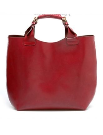 Wine-red Vintage Leather Tote Bag