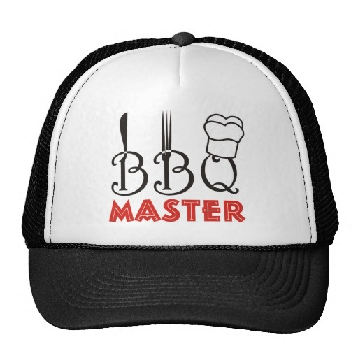 #BBQ Master Hats #barbeque, #barbecue #BBQmaster #black, #red, #fork, #knife, #chefcap  See more #gifts here http://www.zazzle.com/zazzleproducts1?rf=238228936251904937=zBookmarklet