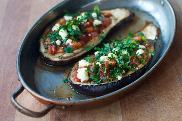stuffed eggplant- i will be making the vegan version of this tonight