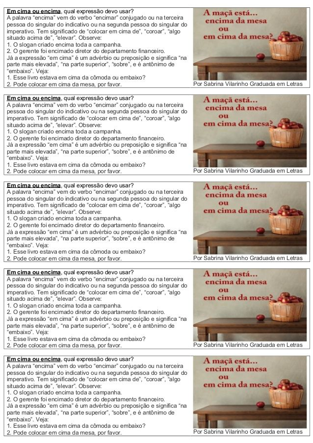Atividades Lingua Portuguesa Em Cima Ou Encima Língua
