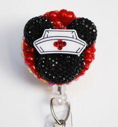 Minnie Mouse Nurse Black Silhouette ID Badge Reel - RN ID Badge Holder - Zipperedheart by ZipperedHeart on Etsy