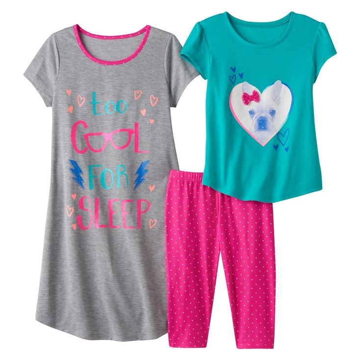 "Girls 4-16 SO® ""Too Cool For Sleep"" Pajama Set, Girl's, Size: Xs (5/6), Med Grey"