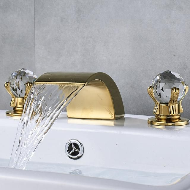 Basin Faucet Dual Crystal Handles Sink