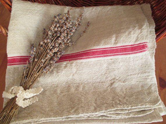 225. Flax linen towel vintage organic linen towel homespun