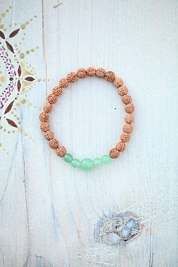 Rudraksha bracelet Aventurine Boho Green gift spirit