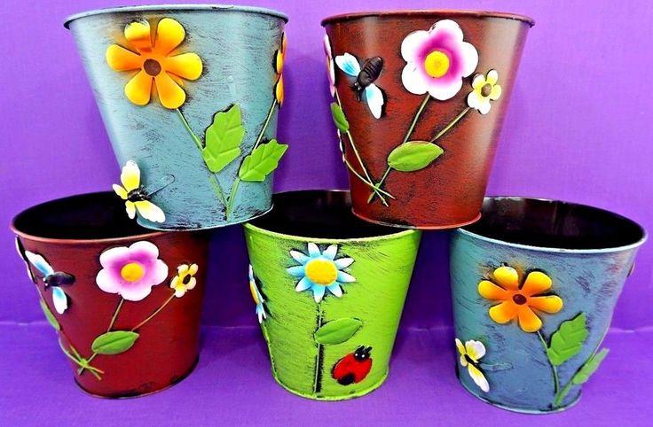 """5 x Large Colourful Metal Flower Plant Pots 6"""" Planter retro vintage style chic"""