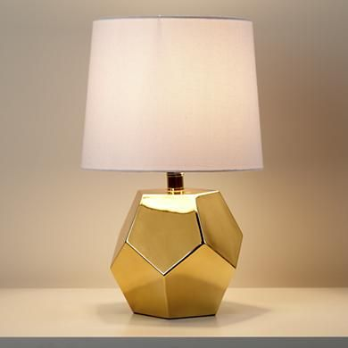 Gold Geometric Lamp Base (also offered in silver and white) $69