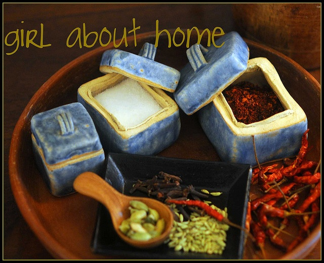 Handbuilt spice boxes in the kitchen...