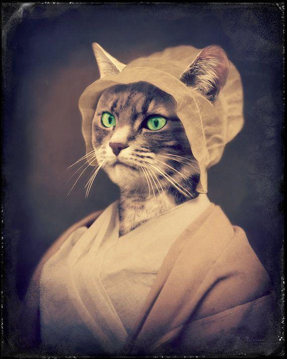 """Кошка Искусство, антропоморфный, животных Искусство, Mixed Media Коллаж, животных Фотография, Веселые подарки, викторианской Животные, """"Желто в чепце"""""""