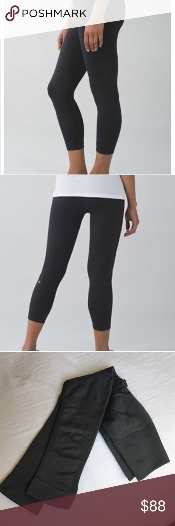 Lululemon Zone In Crop Lulu Crop, Zone In design. Black. 21 inch crops. High rise. Engineered with zoned compression to give you a hugged feeling and feel supported in all the right places. These are perfect condition, and snug to make you feel firm and held in, such a flattering fit. Bundle for discount. lululemon athletica Pants Leggings