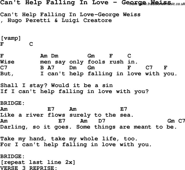 Valerie Lyrics And Piano Notes: Song Can't Help Falling In Love By George Weiss, With