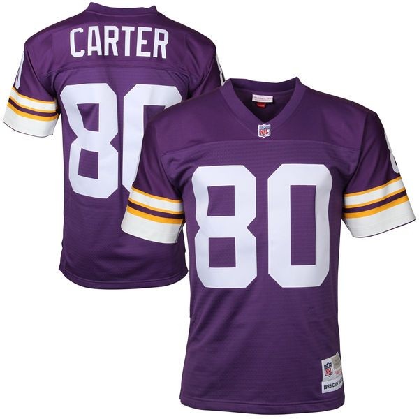 Mens Minnesota Vikings Cris Carter Mitchell & Ness Purple Retired Player Vintage Replica Jersey 1