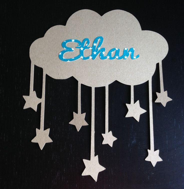 Décoration nuage et étoile en papier prénom Ethan : Décoration pour enfants par ma-petite-bouille