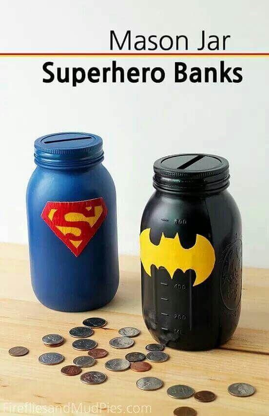 Batman and Superman Mason Jar Banks (Favor idea)