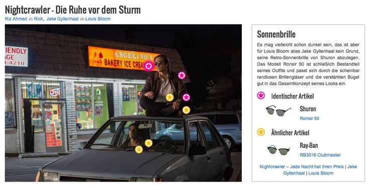 Es mag vielleicht schon dunkel sein, das ist aber für Louis Bloom alias Jake Gyllenhaal kein Grund, seine Retro-Sonnenbrille von Shuron abzulegen. Das Modell Ronsir 50 ist schließlich Bestandteil seines Outfits und passt sich durch die scheinbar randlosen Brillengläser und die verstärkten Bügel gut in das Gesamtkonzept seines Looks ein.