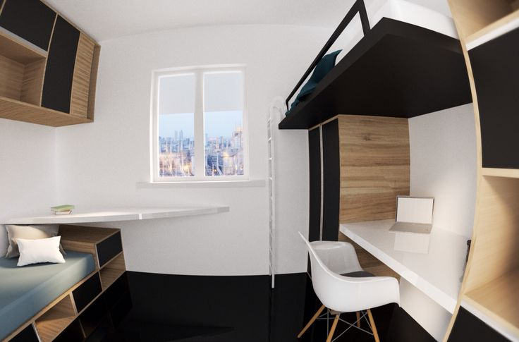 Bedroom modern design minimal wood black white 2016 render