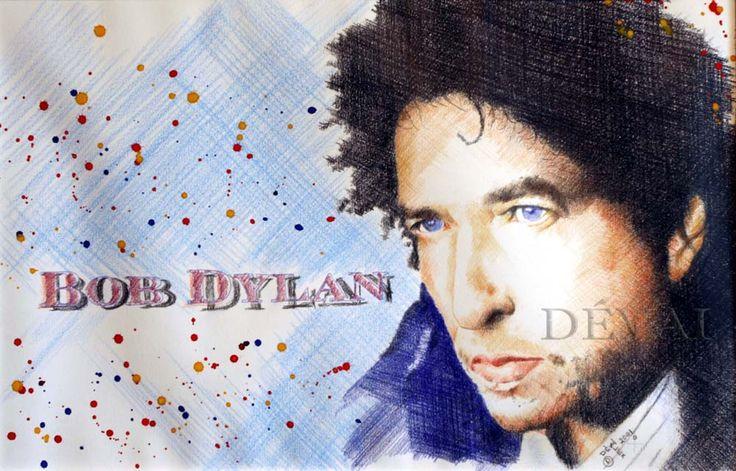Grafik:Alex Devai Color Pencil, aquarell Bob Dylan
