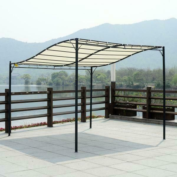 3x3 M Black Cream White Wall Mounted Garden Gazebo Cover Canopy