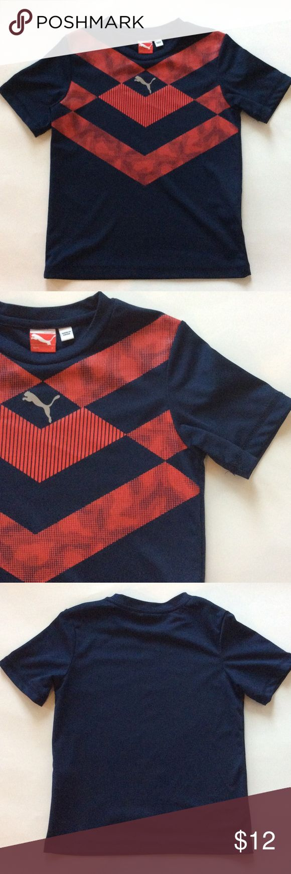 👫Puma Sports Tee Puma Sports Tee. Navy and red. Dri fit type of material . 100% polyester. Size 6. Excellent condition. Puma Shirts & Tops Tees - Short Sleeve