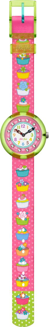 Blue roses, green hearts, yellow icing and fuchsia pink wrappers are ingredients for Swiss timekeeping in the kingdom of cupcakes. Learning to count the minutes and hours is a piece of cake with the help of pastel numbers, countdown gems and Flik and Flak hands.