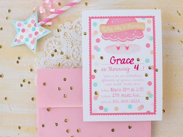 26 best images about Princess Party – Diy Princess Party Invitations