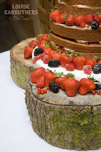 Wedding Cake - Stephanie & Kurt - Naked Victoria Sponge << By Cirencester Cupcakes/ Louise Carruthers Cake Design