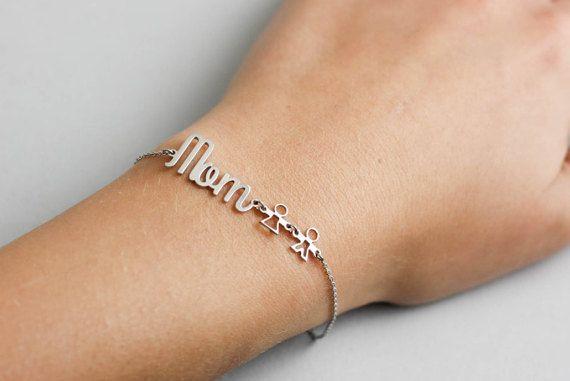 Family Silver Bracelet, Mommy Bracelet, Rose Gold Kids Jewelry, Mom Bracelet, Gold Personalized Bracelet, Kids Bracelet, SB0182