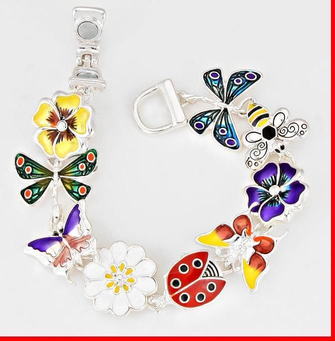 Magnetic Charm LadyBug Flower Dragonfly Butterfly Bee Wings Link Chain Bracelet  #FashionCollection #Chain