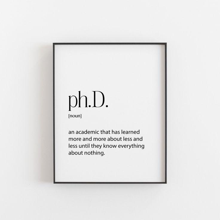 Phd, Phd Graduation Gift, Definition, Wandkunst Wohnzimmer, Geburtstagsgeschenk, Phd Graduation Party, Geschenk für ihn, Geschenk für sie, Wohnheim Dekor