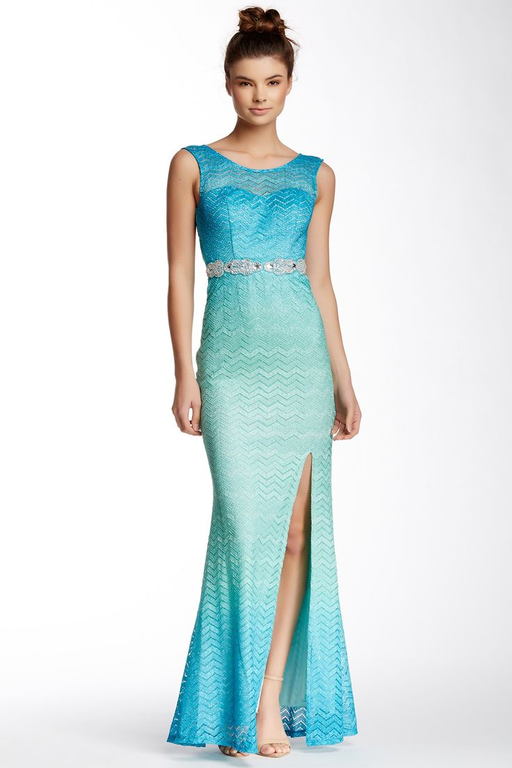 City Triangles Sparkle Knit Ombre Gown Shops Ombre