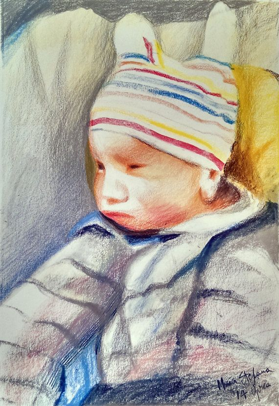 Custom BABY Portrait  PASTEL drawing by BabyPortraitArt on Etsy