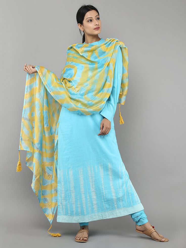 """Size Chart (In inches) - These are garment measurements. Length of the kurti :53"""" Length of the Churidar: 40"""" XS - Chest : 33.5, Waist : 28, Hip : 36, Shoulde"""