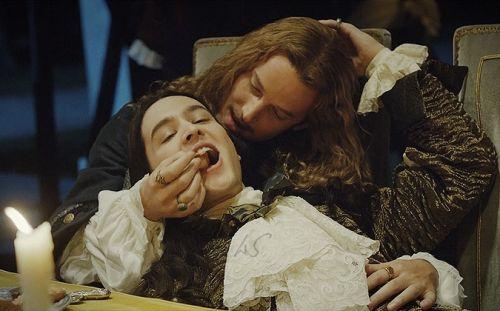 "poisonedfreckles:  Alexander Vlahos as Philippe Duc d'Orleans ""Monsieur"" and Evan Williams  as Philippe de Lorraine ""Chevalier de Lorraine"" in 'Versailles' 1×02"