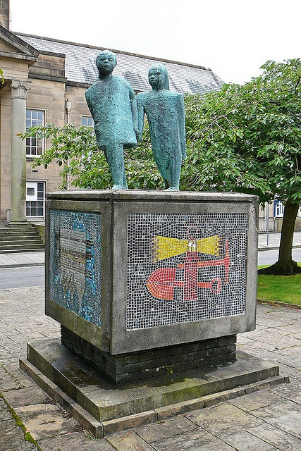 Sculpture outside Burnley Library. I certainly remember this