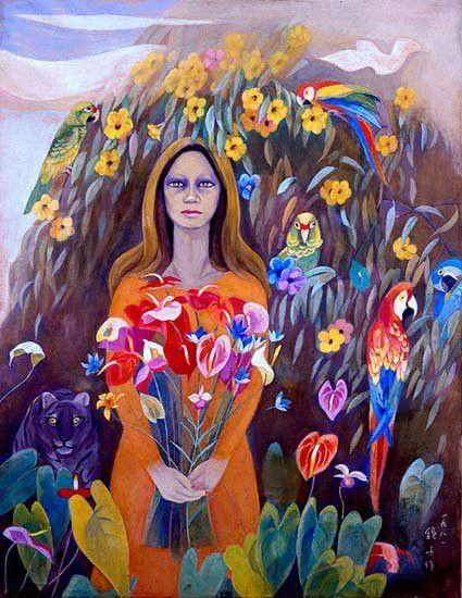 꽃다발을 든 여인