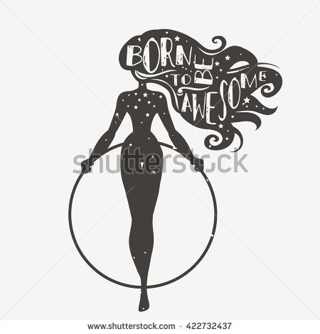 Born to be awesome. Motivational and inspirational illustration with phrase. Typography design with silhouette of woman. For logo, T-shirt design, poster, bodybuilding or fitness club. - stock vector - Tap the pin if you love super heroes too! Cause guess what? you will LOVE these super hero fitness shirts!