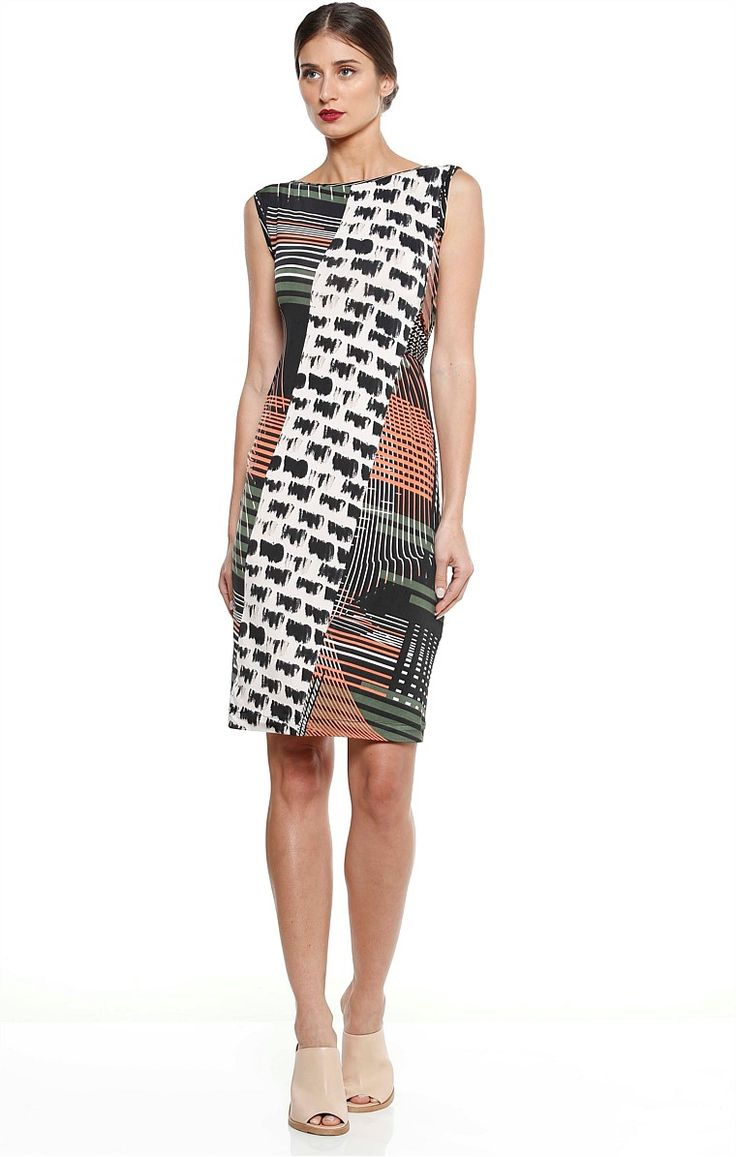 LILA REVERSIBLE PRINTED STRETCH JERSEY KNEE LENGTH DRESS
